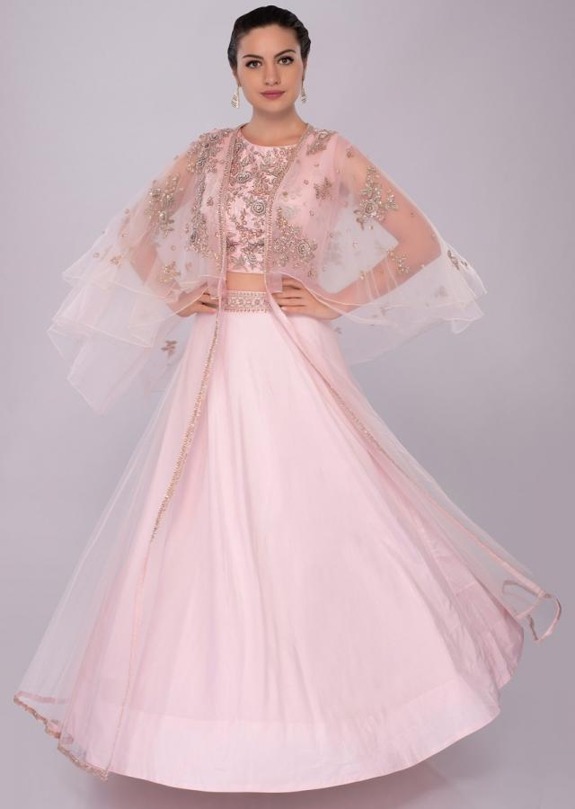 Powder pink lehenga and embroidered crop top with layered net jacket only on Kalki