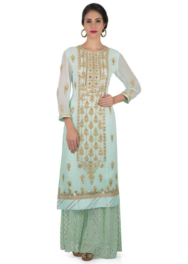 Powder blue straight palazzo suit in gotta lace and moti embroidery only on Kalki