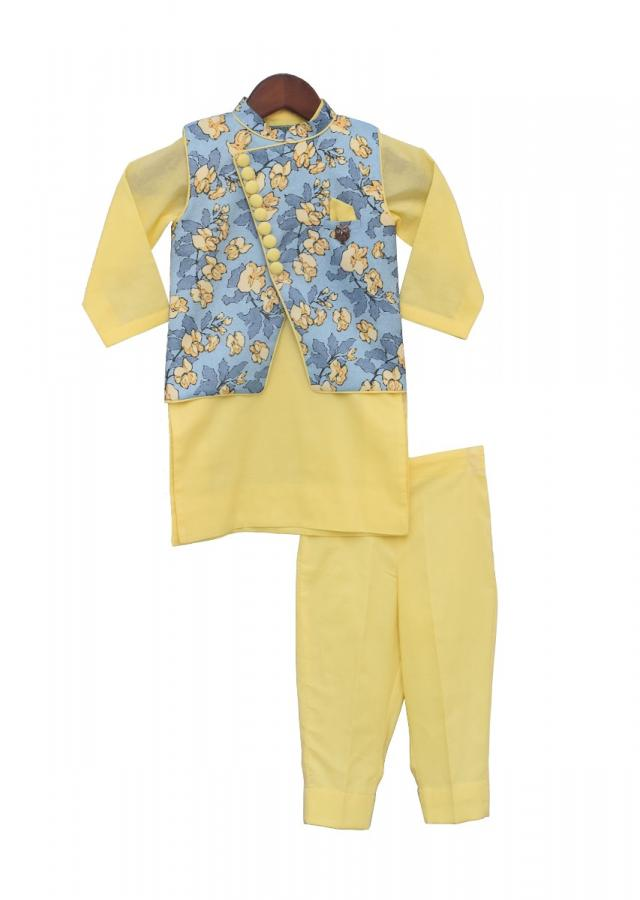 Printed Nehru Jacket with yellow Kurta and  Pant by Fayon Kids