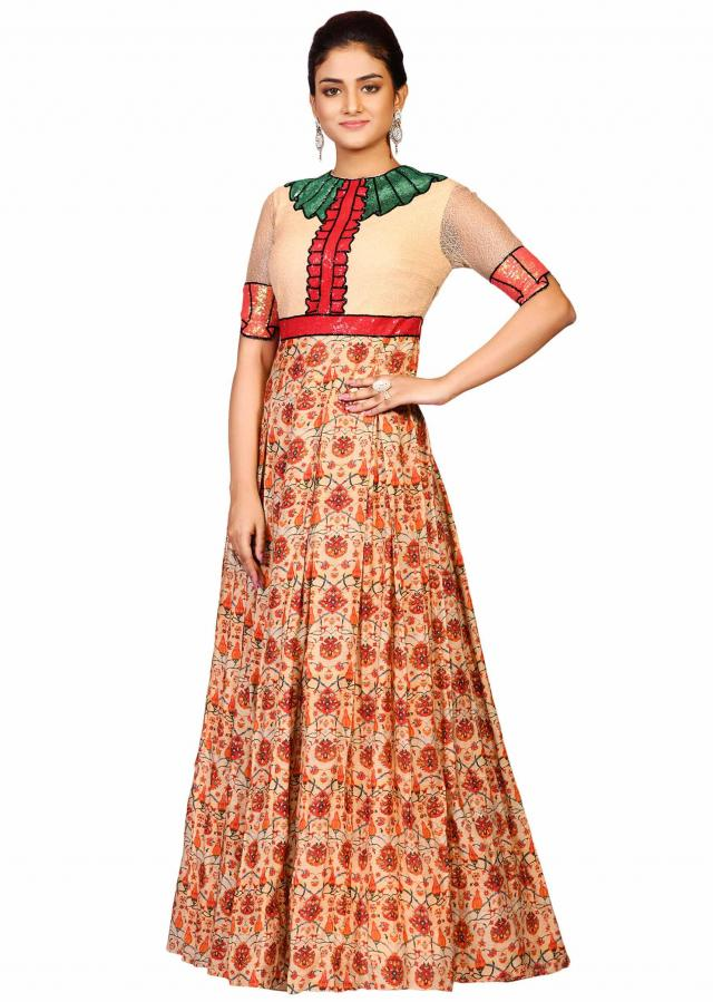 Printed suit in silk beautified in printed sequin embroidery only on Kalki