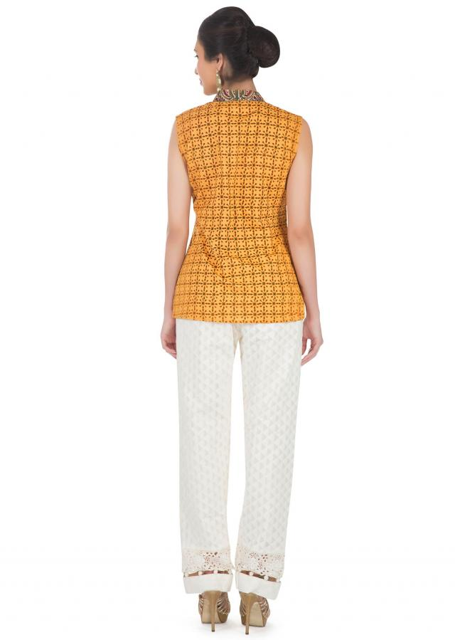 Mustard Yellow Sleeveless Top With Ethnic Print Online - Kalki Fashion