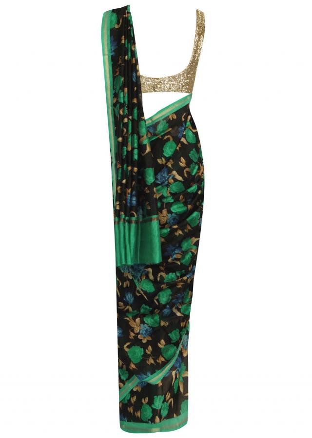 Midnight black and green floral printed saree only on Kalki