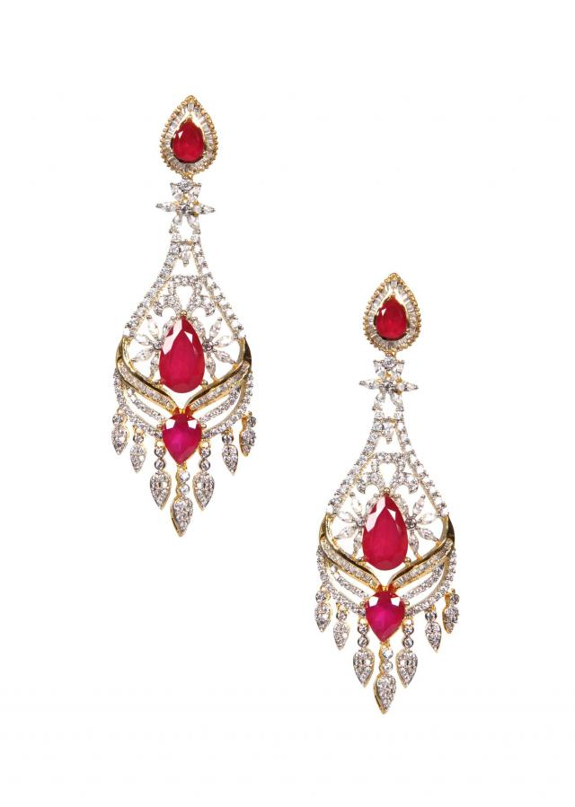 Hand Cut Ruby And Emerald Onyx Stones Earring