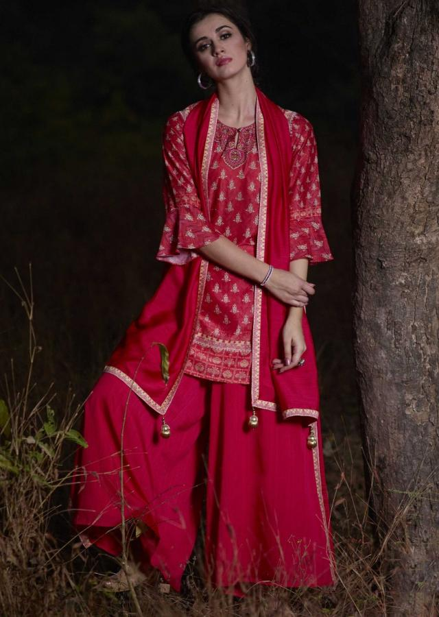 Punch Pink Palazzo Suit With Printed Buttis And Kundan Work Online - Kalki Fashion
