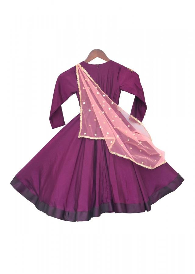 Purple Anarkali With Pink drape Dupatta  by Fayon Kids