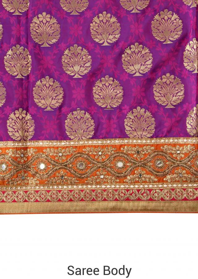 Purple saree in brocade with mirror border only on Kalki