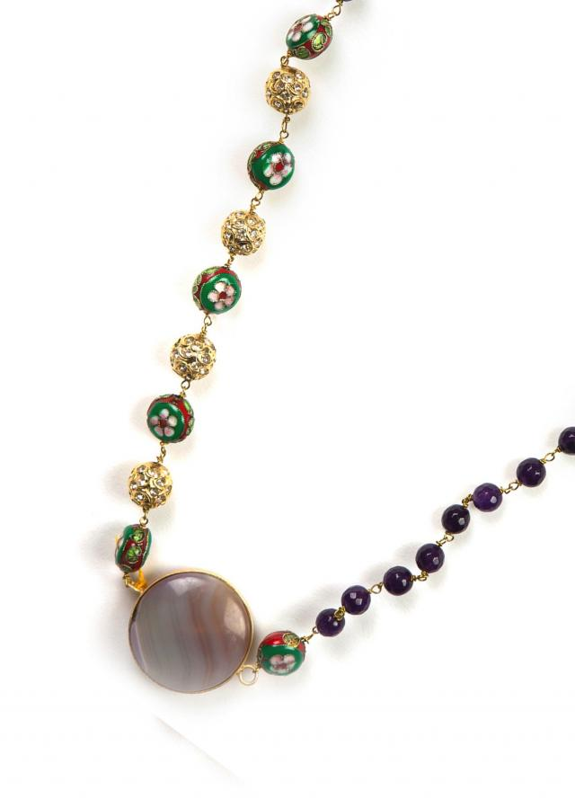 Purple and meenakari beaded necklace only on Kalki