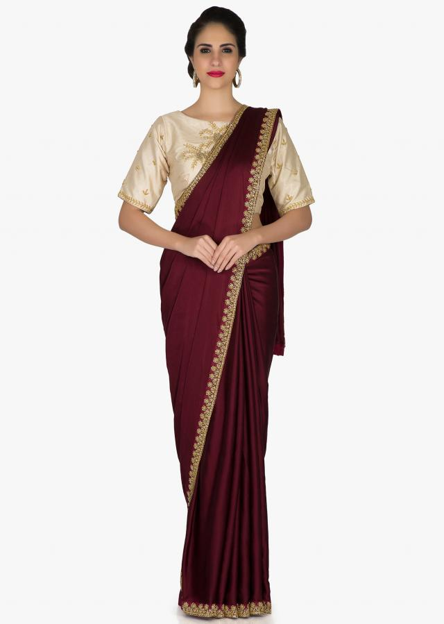 Purple Saree In Satin And Cream Silk Blouse Adorned With Kundan, Zari And Zardosi Online - Kalki Fashion