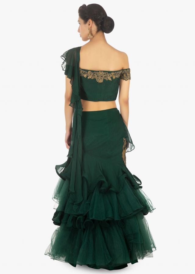 Rama Green Off Shoulder Crop Top Paired With A Georgette And Net Layered Skirt With An Attached Dupatta Online - Kalki Fashion