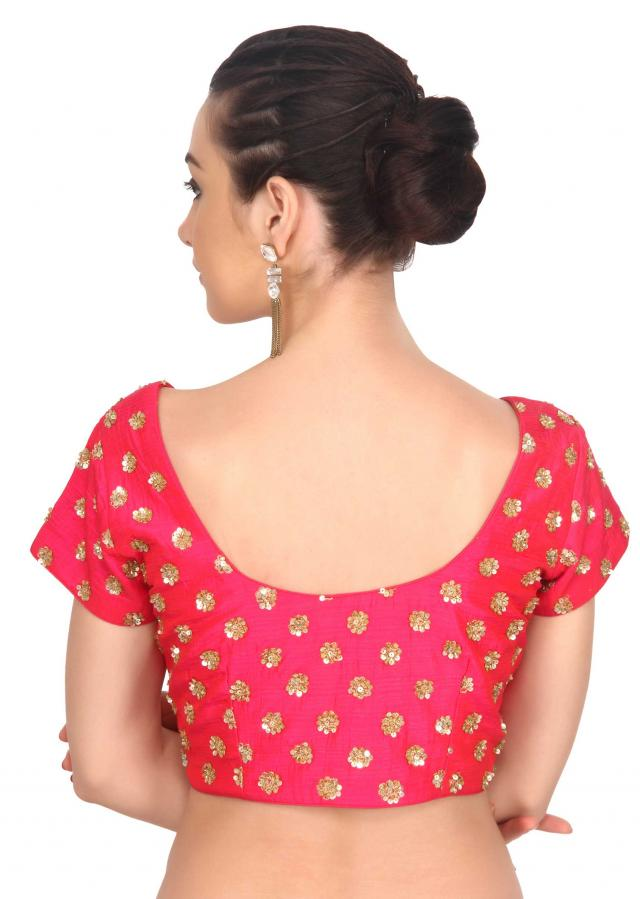 Rani pink blouse adorn in sequin embroidery only on Kalki