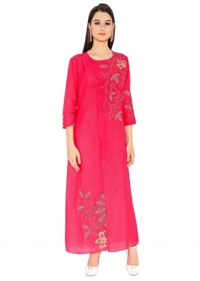 Rani Pink Cotton, Georgette Kurti With Elegant Thread Work Across Shoulder And Bottom Only On Kalki