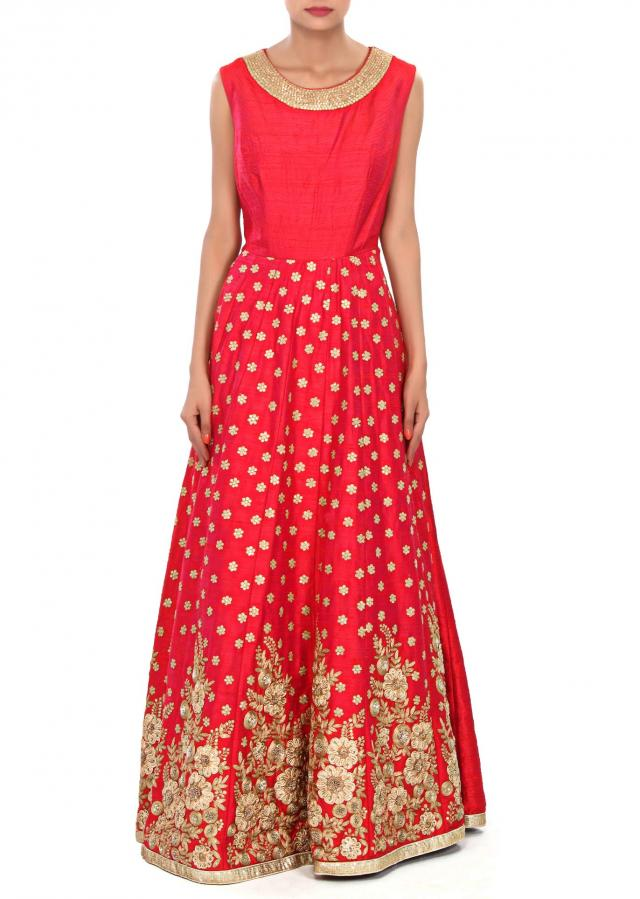 Rani pink dress embellished in sequin and zari embroidery only on Kalki