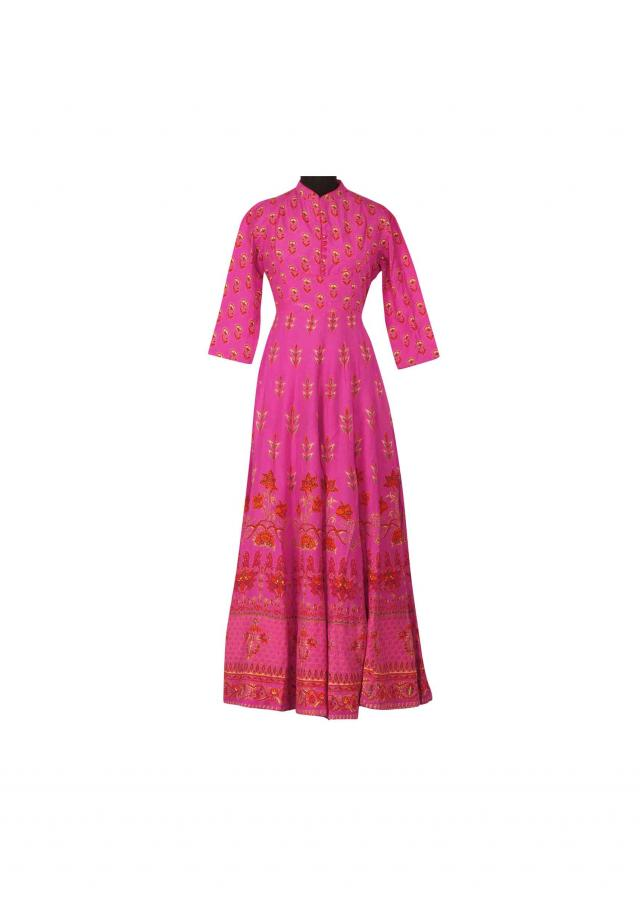 Rani pink dress in floral printed butti only on Kalki
