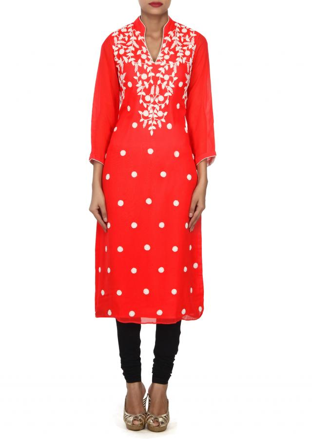 Rani pink kurti adorn in french knot embroidery only on Kalki