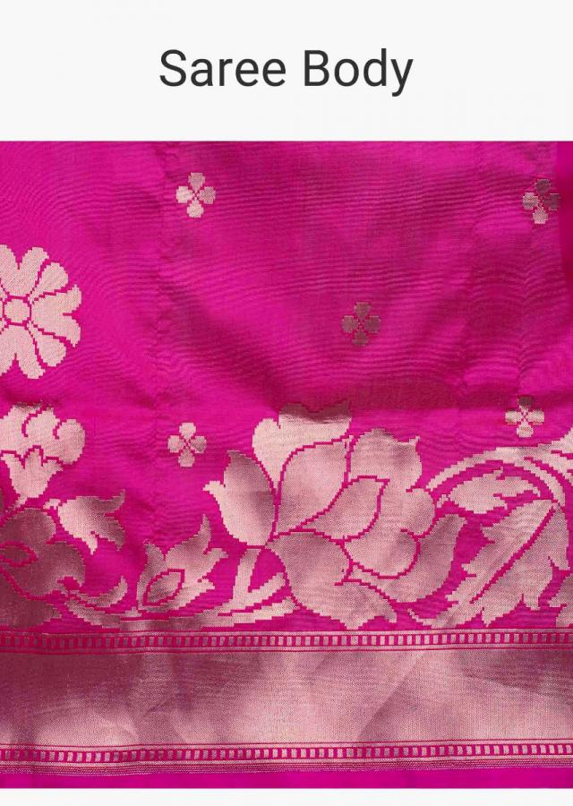 Rani Pink Saree In Silk With Weaved Butti And Border Online - Kalki Fashion