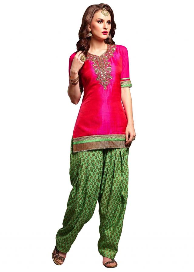 Rani pink straight salwar kameez in mirror and sequin embroidery