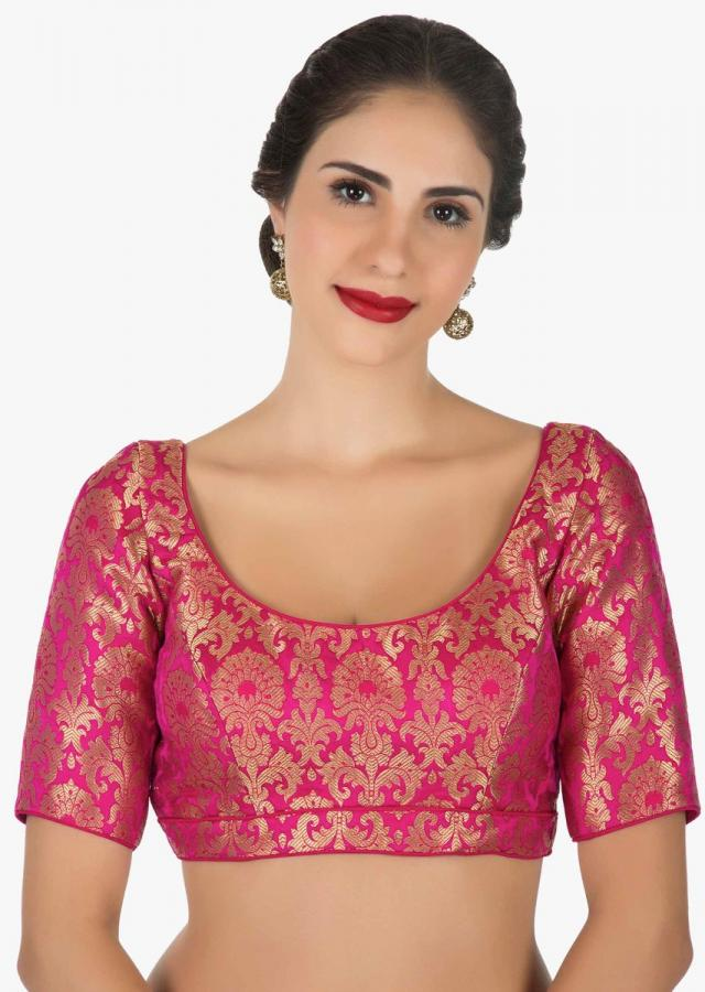Rani pink blouse in brocade silk only on Kalki