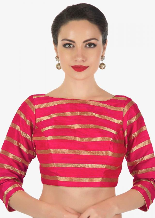 Rani pink blouse in silk with copper color weave in stripes motif only on Kalki