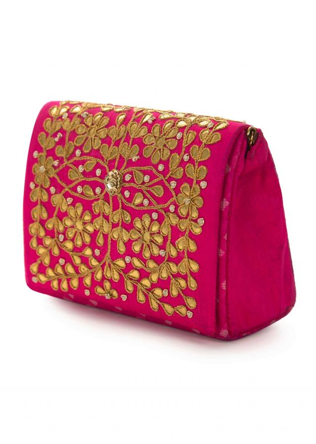 Rani pink gotta patti embroidered bag only on Kalki