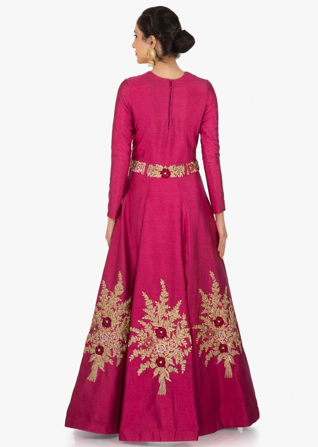 Rani Pink gown in raw silk engraved in heavy zari and moti work only on Kalki