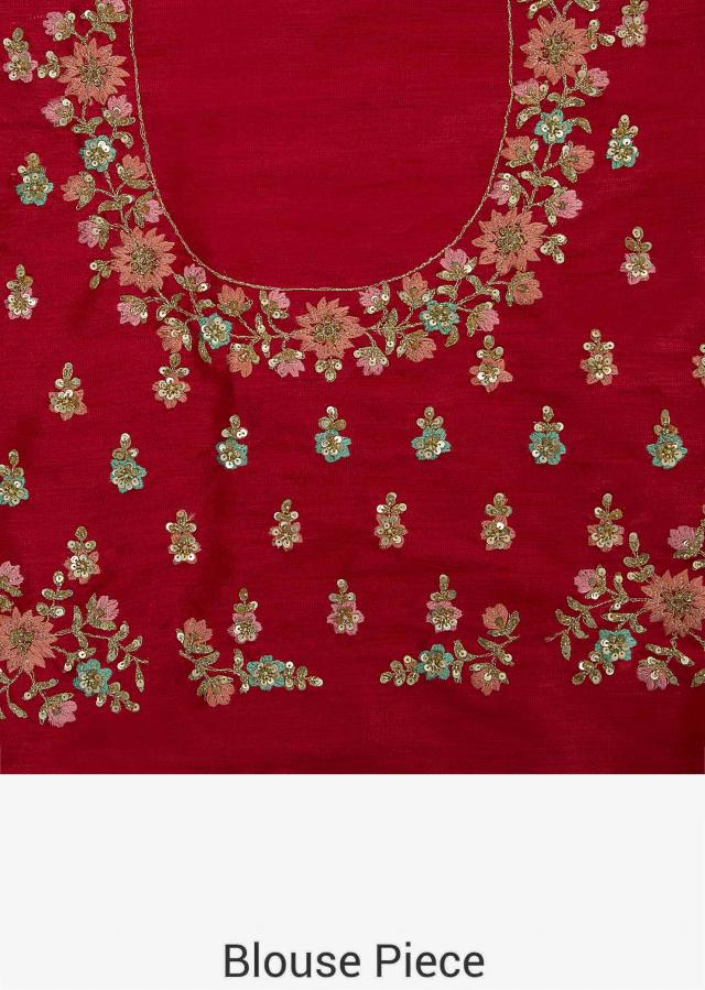 Rani pink lehenga in raw silk showcasing the heavy resham and sequin butti work only on Kalki