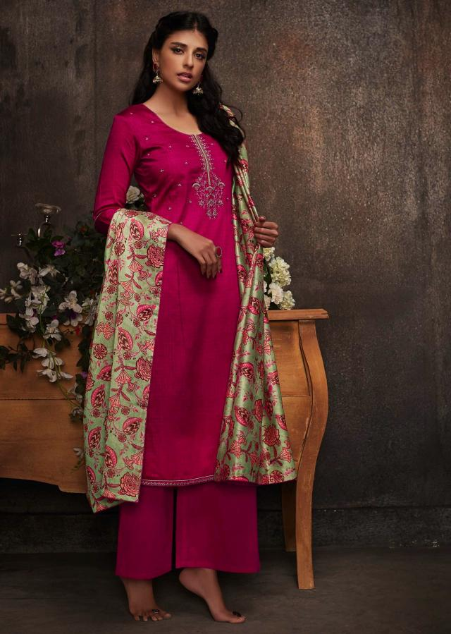 Rani pink unstitched suit in cotton silk with floral motif embroidered placket only on Kalki