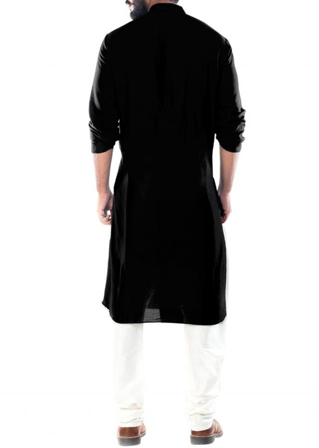 Raven Black Cowl Draped Kurta With Churidar Pants