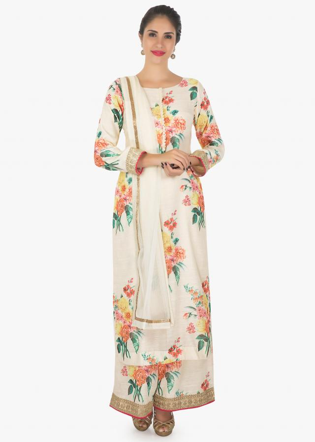 Raw silk cream kurti and palazzo in floral print with zari only on Kalki