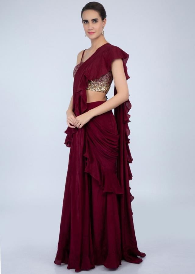 Ready pleated wine saree with frilled hem and ruffled pallo only on Kalki
