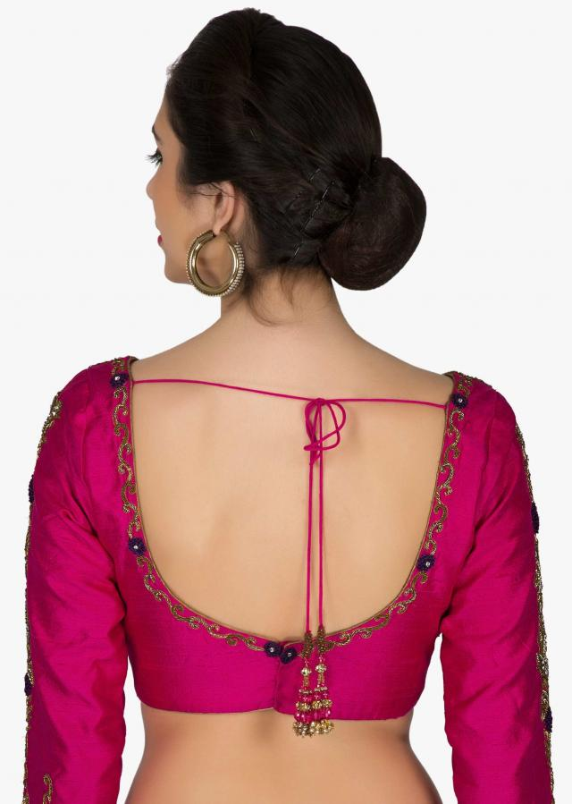 Readymade Rani Pink Silk Blouse Featuring Zardosi Embroidery only on Kalki