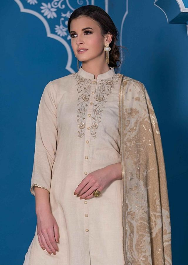 Realist Beige Unstitched Suit Set In Cotton With Floral Embroidered Placket Online - Kalki Fashion