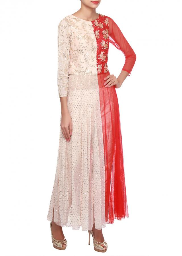 Red and cream suit adorn in floral print only on Kalki
