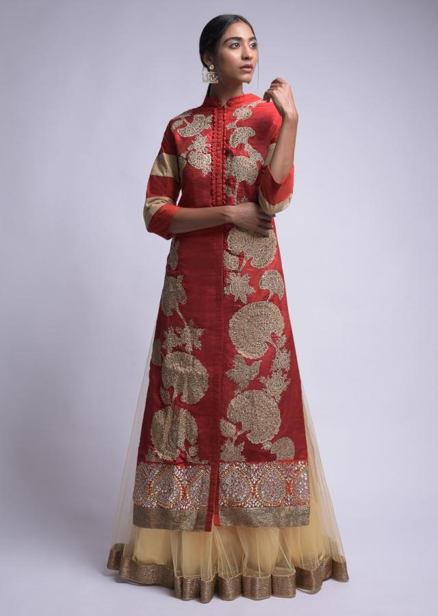 Red And Gold Beige Jacket Lehenga With Embroidered Bird And Floral Motifs Online - Kalki Fashion