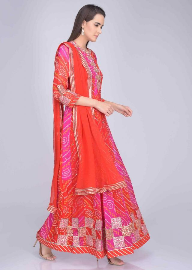 Red and pink georgette anarkali with bandhej and gotta work only on Kalki