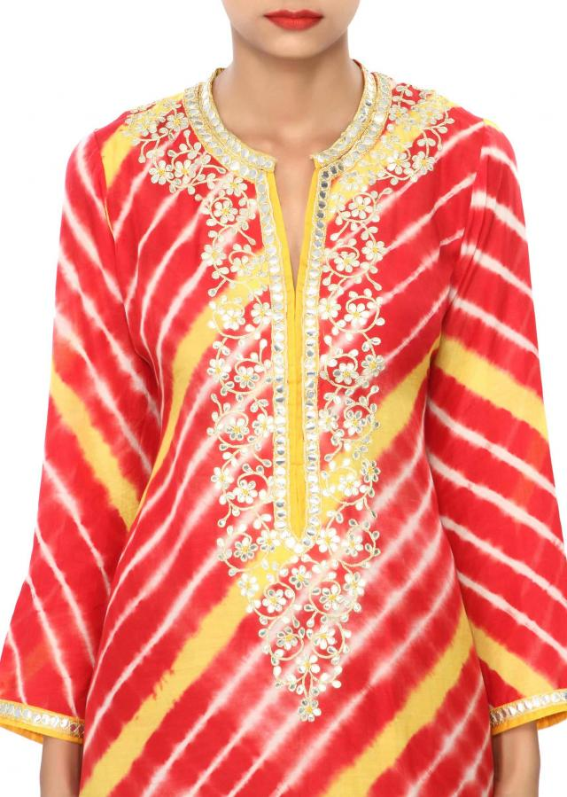 Red and yellow kurti embellished in gotta patch work only on Kalki