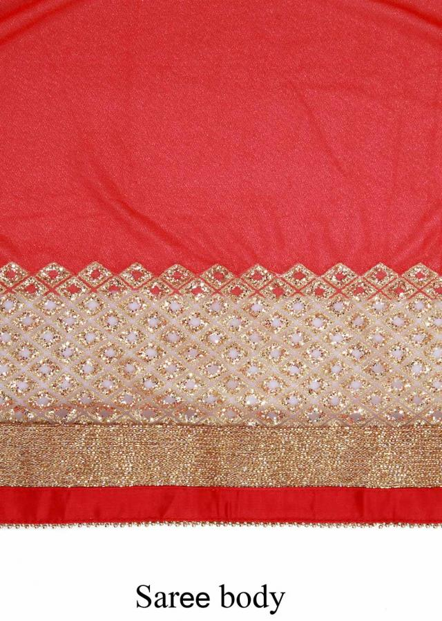 Red bandhani saree featuring in sequin and kardana embroidery only on Kalki