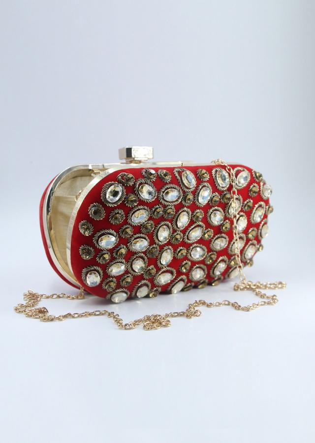 Red curve box clutch in chanton flat back beads only on Kalki