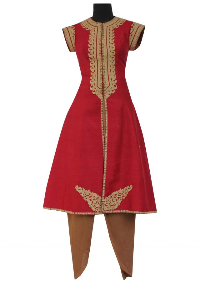 Red embroidered jacket with silk dhoti pants
