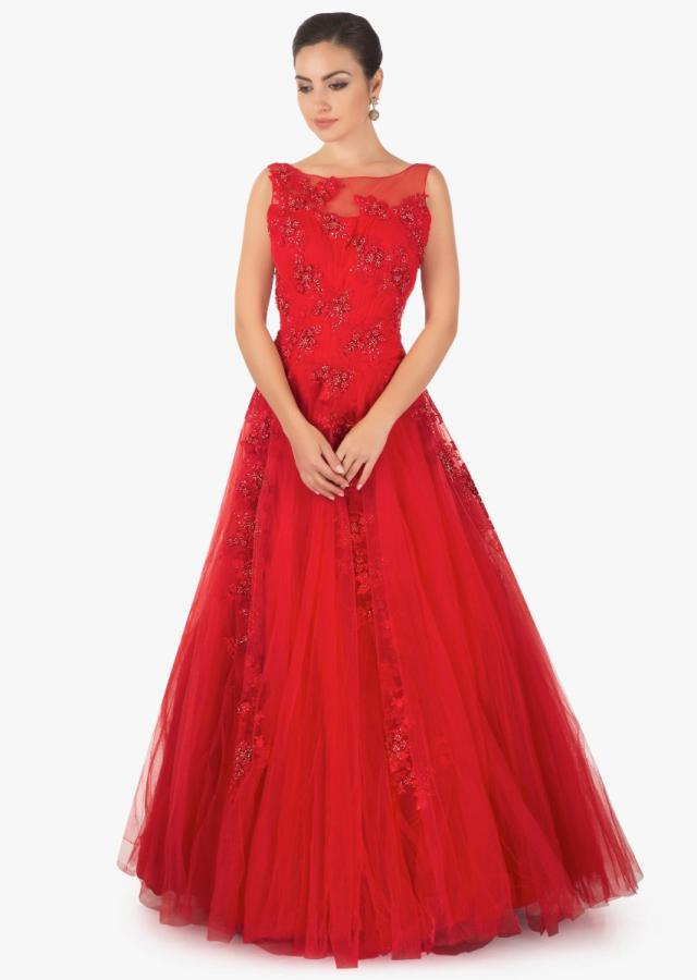 Red floor length net gown with cut dana and resham embriodery only on kalki