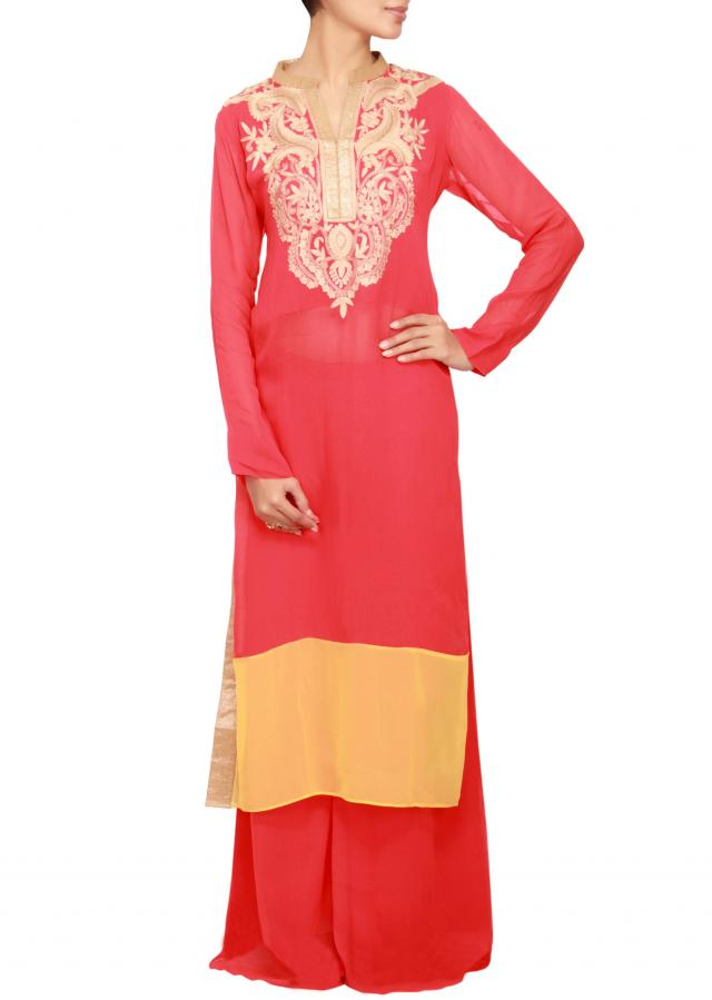 Red georgette a-line salwar kameez embellished in zari and resham work only on Kalki