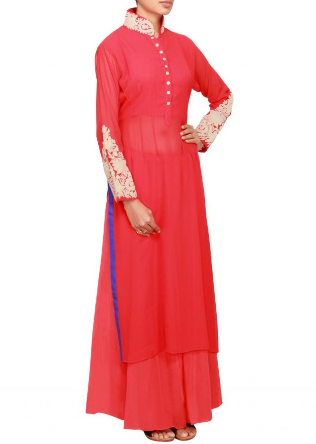 Red georgette a-line salwar kameez embellished in zari work only on Kalki