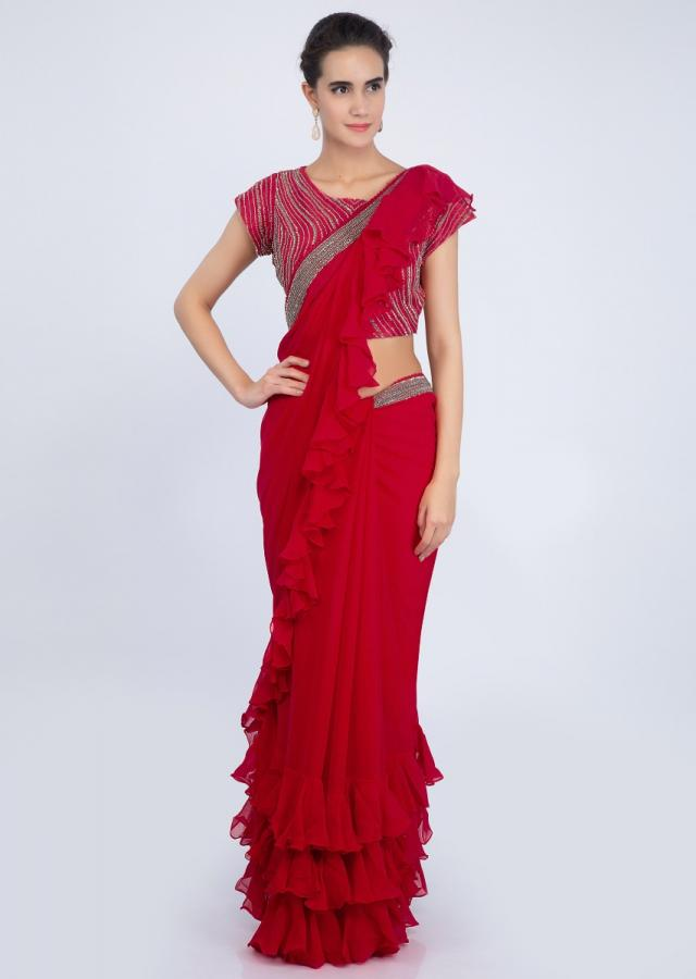 Red georgette saree with ruffled hem and pallo only on kalki