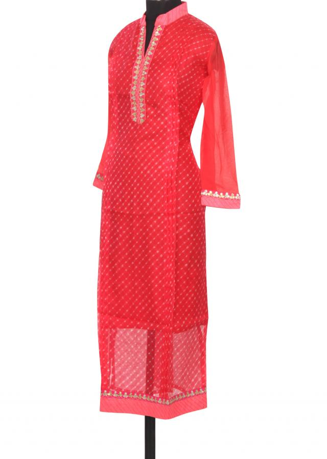 Red kurti featuring in gotta patti placket only on Kalki