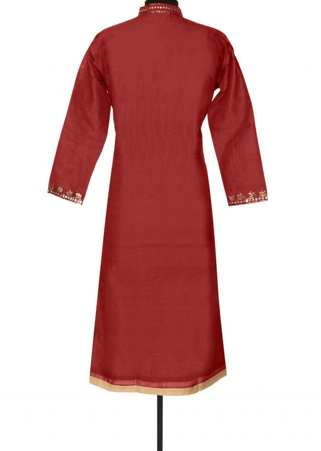 Red kurti with zari and mirror placket only on Kalki
