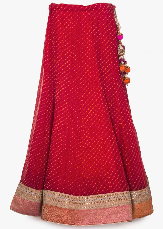 Red leherie georgette lehenga matched with red shaded brocade dupatta
