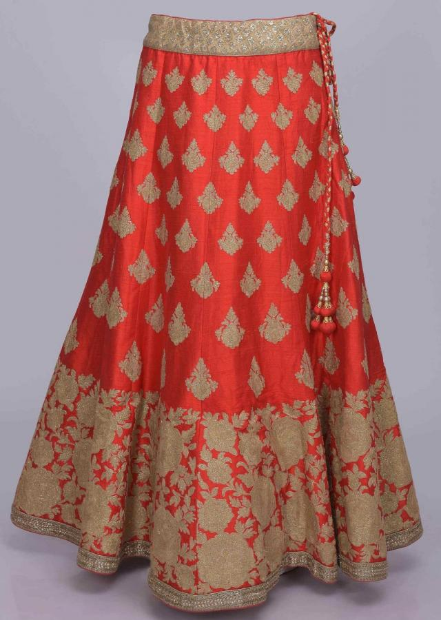 Red Lehenga Choli In Raw Silk With Shimmer Gold Net Dupatta Online - Kalki Fashion