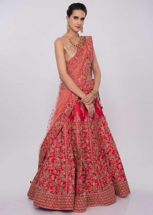 Red raw silk machine embroidered lehenga set in floral motif only on Kalki