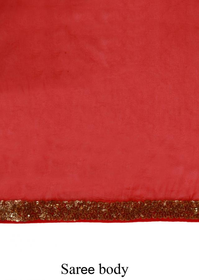Red Saree With Sequins Border Online - Kalki Fashion