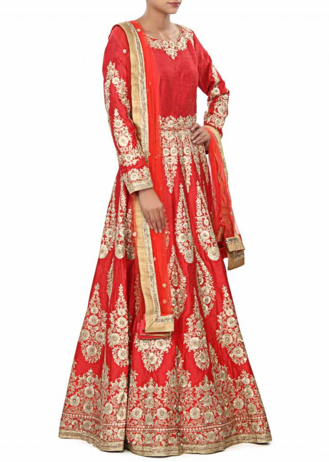 Red silk anarkali suit embellished in zari embroidery only on Kalki