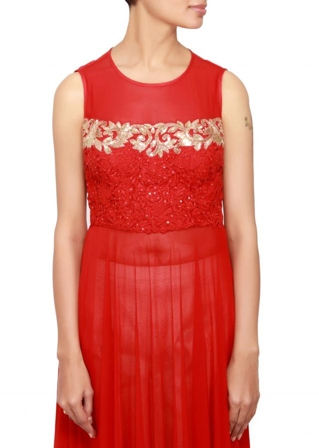 Red straight fit suit in net and lycra embellished in sequin and resham only on Kalki